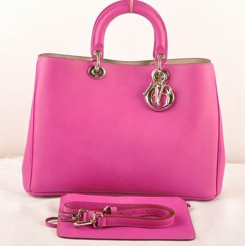 """Jumbo Oversized Dior """"Diorissimo"""" Ladies Peach Original Leather Tote Bag With Side Snap Buttons"""