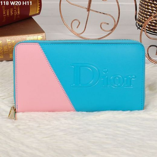 Hot Selling Sky Blue-Pink Yellow Gold Zipper Dior Ladies Leather Clone Wallet