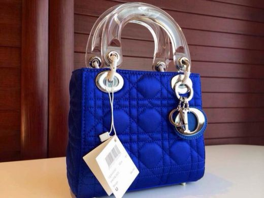 Fake Latest Dior Lady Sapphire Blue Default Leather Cannage Quilted Tote Bag Transparent Top Handle