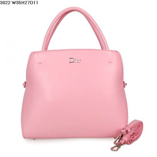 Fashion Women's Dior A-Shape Cherry Pink Calfskin Leather Top Handle Bag Adjustable Strap Replica