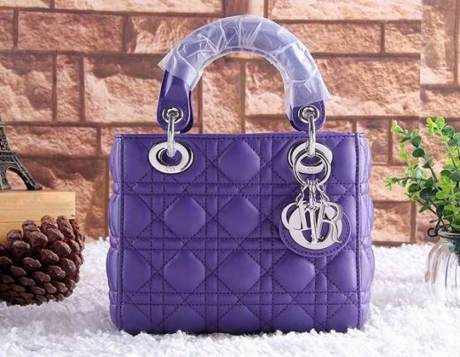 Hot Selling Silver Pendant Dior Lady Top Handle Purple Leather Cannage Lambskin Totes Bag Mini
