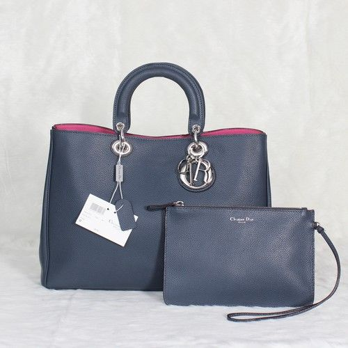 AAA Quality Dior Imported Litchi Leather Steelblue Large Shoulder Bag With Protective Base Studs For Womens