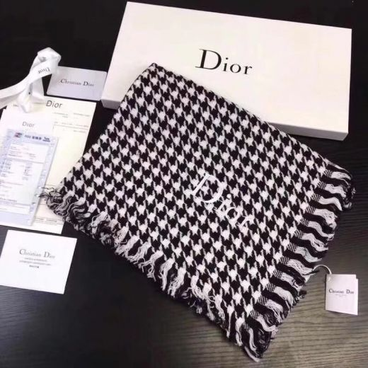 Christian Dior Black Cashmere & Wool Houndstooth Tassels Scarves Wraps Sale Online Canada Price Couple Style