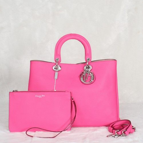 """Pink Imported Grained Leather Dior """"Diorissimo"""" Totes Bag Silver Hardware With Zipper Bag For Girls"""