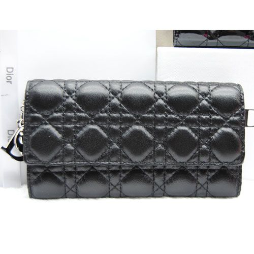 "Dior ""Lay Dior"" Black Timeless Pieces Sheepskin Leather Cannage Quilted Long Wallet Tri-fold"