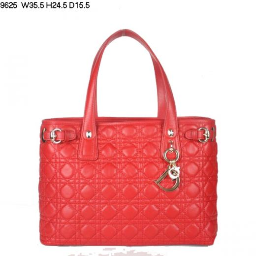 Dior Panarea Womens Golden Buckle Trimmings Red Medium Lambskin Cannage Shoulder Shop Online