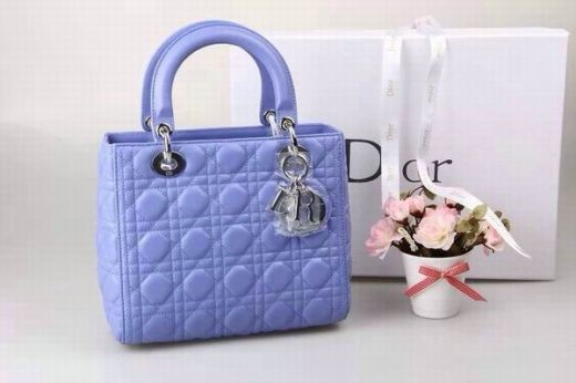 Medium Lady Dior Lambskin Leather Cannage Quilted Baby Blue Faux Tote Bag Silver Hardware