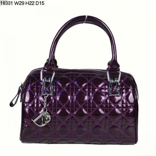 Fake Cheapest Lady Dior Purple Patent Leather Long Boston Bag Silver D.I.O.R Charm School Working