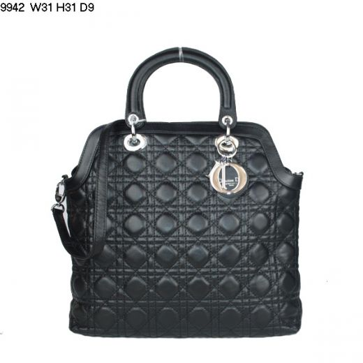 Women's Dior Top Handle Black Lambskin Leather Cannage Quilted Tote Bag Silver Pendant UK