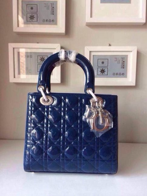Cheapest Dior Lady CAL44550 M85B Navy Patent Leather Cannage Quilted Default Tote Bag Gold Plated Pendant