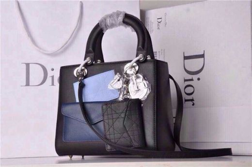 Classics Black Silver Hardware Dior Lady Leather Clone Totes Navy Front Pocket Small Flap Bag
