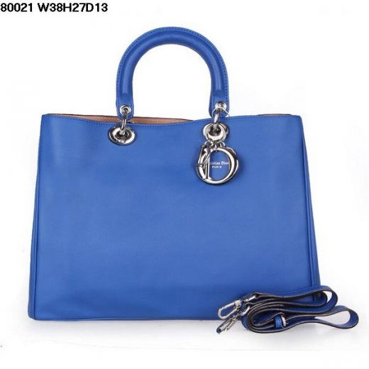"""Open Style Womens Nappa Leather Dior """"Diorissimo"""" Top Handle Fake Shoulder Bag Sapphire Blue"""
