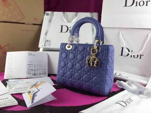New Dior Lady Navy Blue Default Leather Tote Bag Top Handle Cannage Quilted Good Reviews