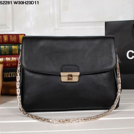 Good Reviews Ladies Dior Diorling Black Smooth Leather Flap Handbag Golden Chain Three Compartments