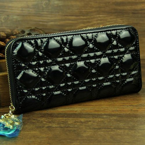 Latest Dior Lady Dior Golden Zip-Around Black Patent Leather Long Cannage Wallet For Summer