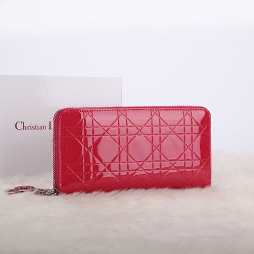 """Dior Escapade """"Lady Dior"""" Red Patent Leather Wallet Silver Zipper With D.I.O.R Charm Canange"""