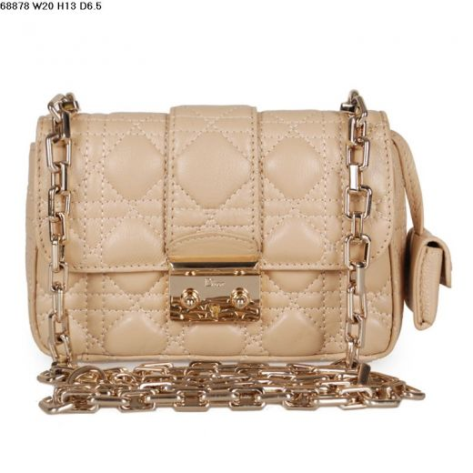 Cheapest Miss Dior Apricot Lambskin Leather Golden Buckle Flap Clone Shoulder Bag Cannage Quilted 878