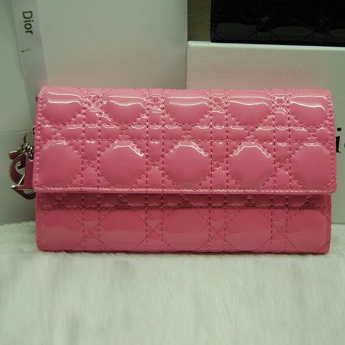 Replica Dior Pink In Patent Leather Lady Dior Silver D.I.O.R Charm Cannage Wallet Online Sale