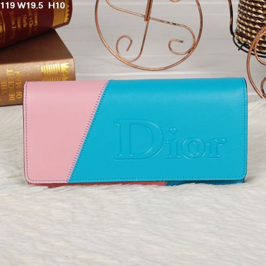 Women's Dior Colorful Flap High Quality Wallet Sky Blue & Pink In Paris