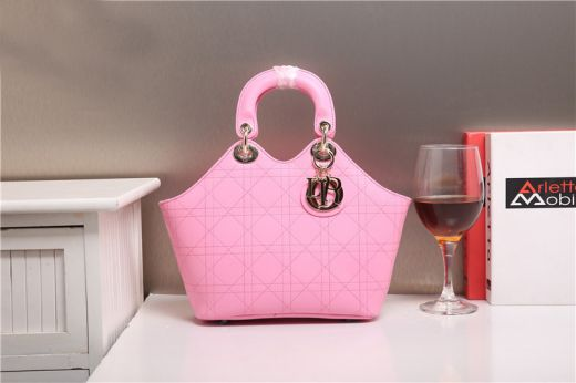 Best Christian Dior Pink Calfskin Leather Cannage Womens Tote Bag Wide Top Handle Golden Hardware