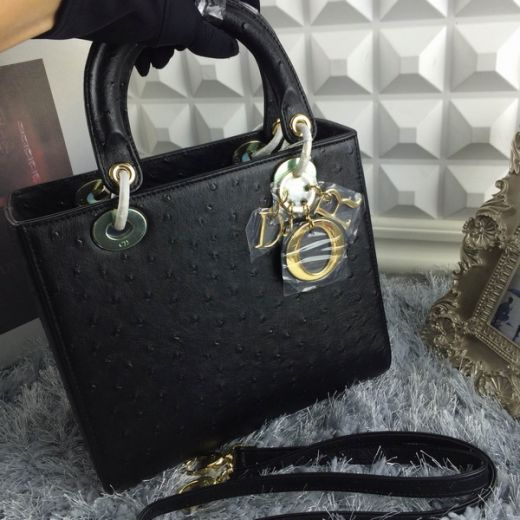 Classic Dior Lady Black Grained Lambskin Leather High Quality Medium Tote Bag Yellow Brass Hardware