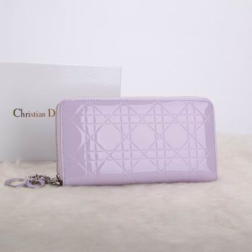 """Elegant Style Dior """"Lady Dior"""" Patent Leather Zip Around Cannage Escapade Wallet Lavender Charm"""