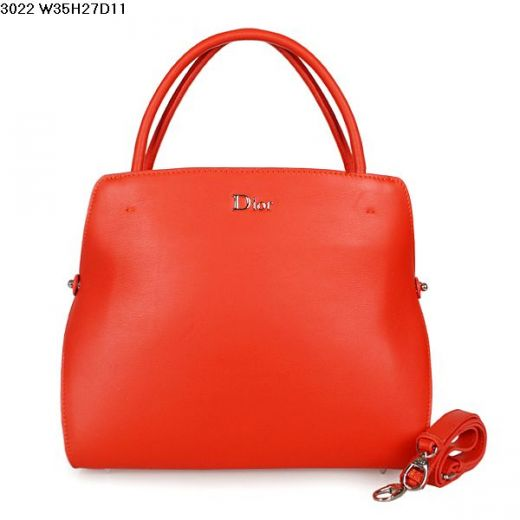 Latest Dior Cherry Red Silver Logo Calfskin Leather Large Tote Bag Top Handle For Sale
