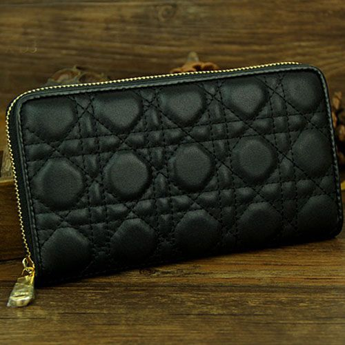 Lady Dior Classic Black Cannage Quilted Long Wallet Yellow Brass Zipper Sheepskin Leather