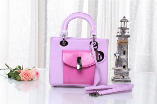 Christian Dior Lady Fall Winter Light Purple Leather Trim Tote Bag Rose Red Pocket