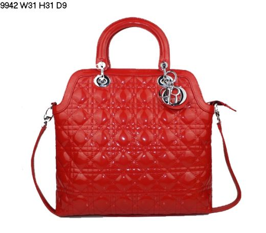Dior Limited Edition Red Patent Leather Cannage Top Handle Bag Silver D.I.O.R Charm Replica