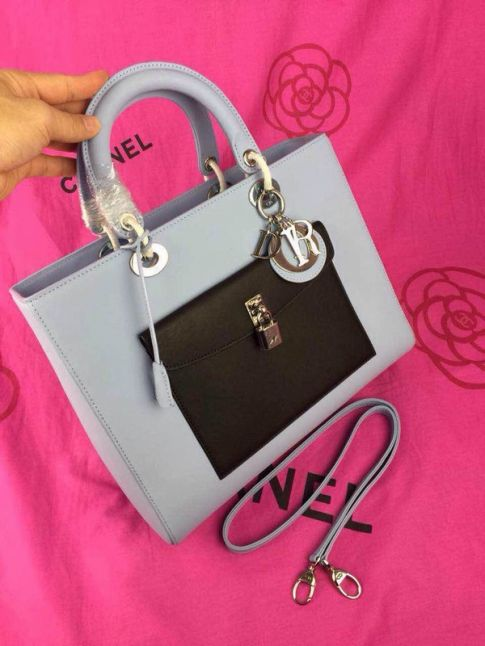 Chpeast Dior Lady Light Grey Default Leather Totes Black Front Pocket With Lock Silver Hardware