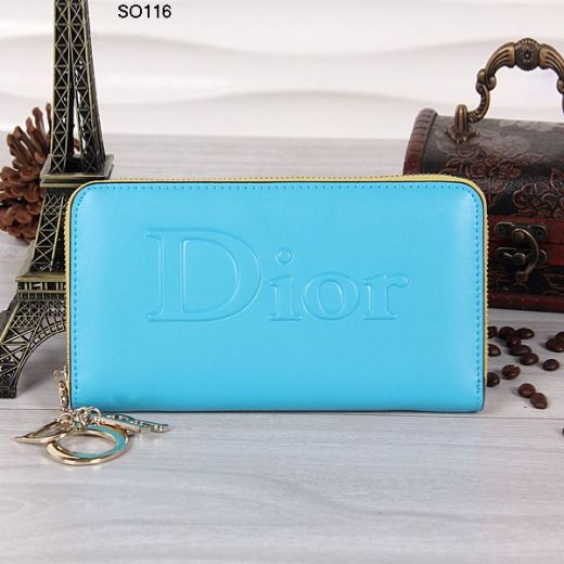 Fashion Sky Blue Dior Smooth Leather Ladies Wallet Yellow Zipper Fabric Golden Pendant Online Replica