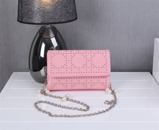 Luxury Studded Silver Chain Strap Ladies Jewellery Flap Dior Shoulder Bag Pink Leather