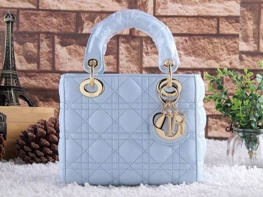 Dior Lady Mini Baby Blue Hot Selling Cannage Leather Totes Bag Golden Hardware Flap Closure
