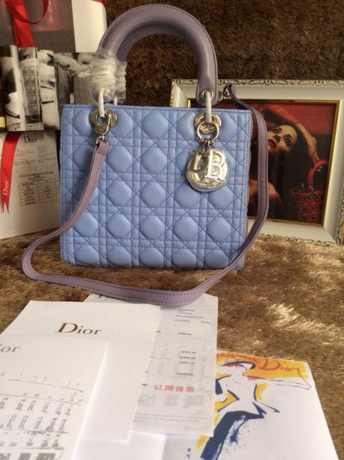 """Classic Dior """"Lady Dior"""" Bi-color Cannage Quilted Leather Tote Bag Silver Hardware Baby Blue"""
