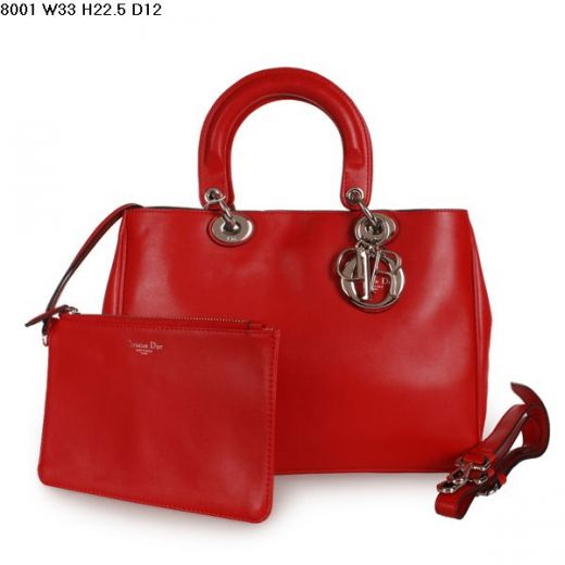 """Dior """"Diorissimo"""" Silver Hardware Red Nappa Leather Womens Jumbo Tote Bag With A Slip Pocket"""