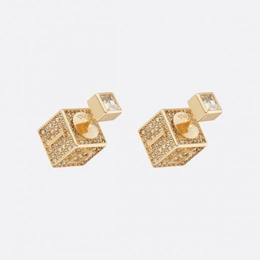 2021 Best Replica Christian Dior Logo Pattern Square Cube Charm Yellow Gold Plated Paved Diamonds Stud Earrings For Ladies