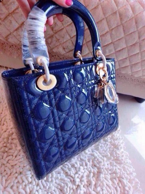 Sapphire Blue Dior CAL44550 M85B Lady Default Cannage Patent Leather Narrow Strap Crossbody Bag Golden Pendant