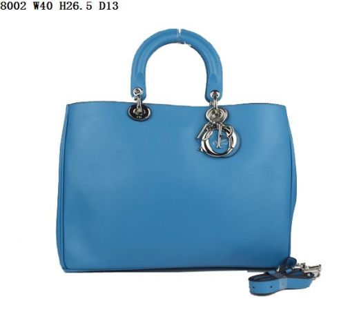 """Fashion Silver Hardware Dior Light Blue Smooth Leather """"Diorissimo"""" Totes Shoulder Bag For Womens"""
