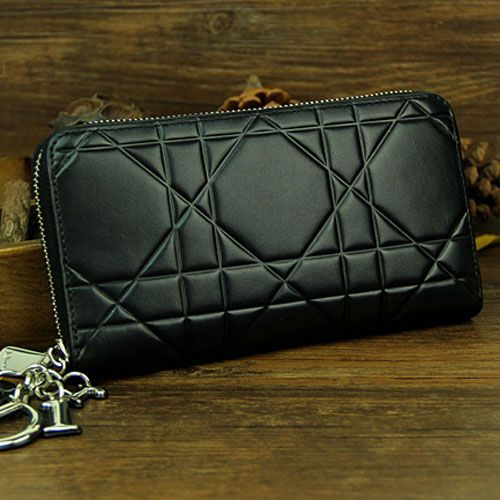 "Dior ""Lady Dior"" Black Leather Silver Zip Around Escapade Wallet For Womens Price List"