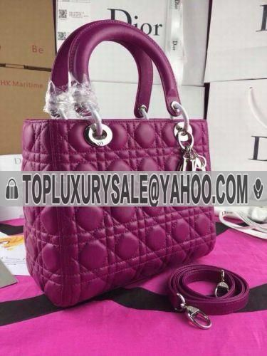 Low Price Dior Lady Soft Leather Purple Cannage Default Tote Bag Top Handle
