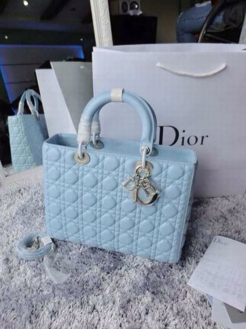 Good Price Dior Silver Hardware Lady Dior Square Cannage Quilted Lambskin Tote Bag Baby Blue