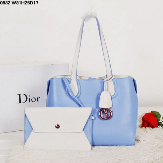 Christian Dior Addict White & Light Blue Calfskin Leather Top Handle Tote Bag