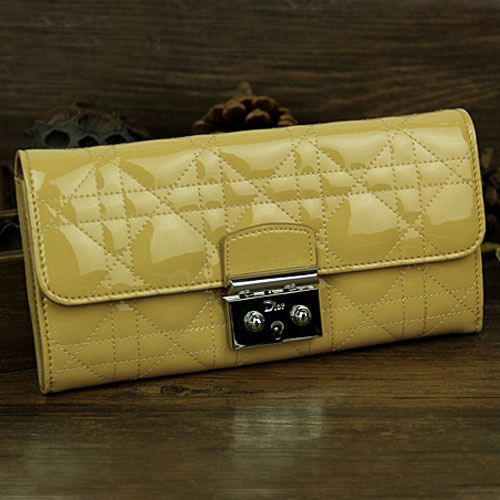 """2017 Summer Lemon Yellow Dior """" Lady Dior"""" Flap Cannage Wallet Patent Leather 1 Zipped Purse"""