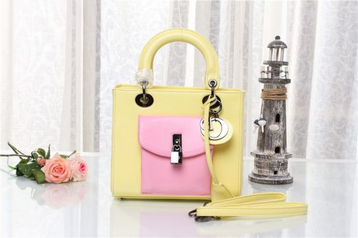Dior Fashion Lady Dior Yellow & Pink Candy Color Original Leather Clone Handbag Silver Hardware