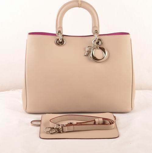 """2017 New Price Dior """"Diorissimo"""" Ladies Leather Beige Tote Bag Golden Hardware Rose Lining"""