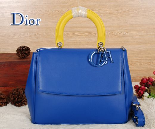 """2017 Dior Blue Calfskin Removed Strap Womens Faux """"Be Dior"""" Tote Bag Single Yellow Handle"""