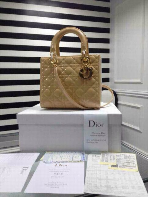 Replica High Quality Dior Lady Beige Patent Leather Cannage Quilted Tote Bag Golden Hardware