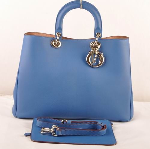"""Dior """"Diorissimo"""" Blue Leather Golden D.I.O.R Charm Womens Large Volume Tote Bag With Small Bag"""