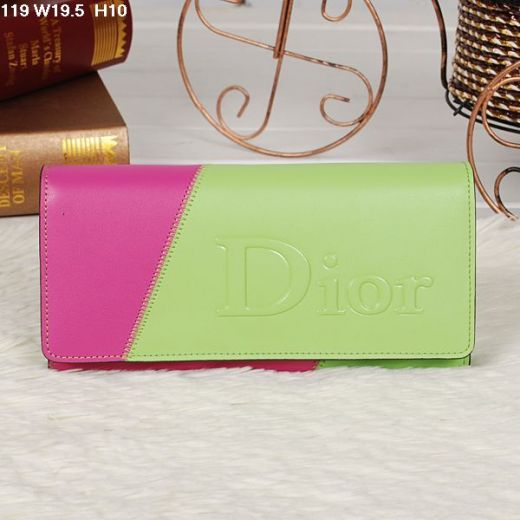 Fake Christian Dior High End Flap Lime-peach Patchwork Leather Wallet For Girls